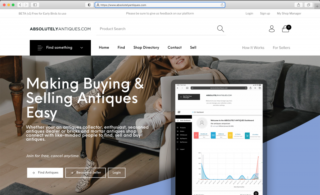 absolutely antiques online ecommerce
